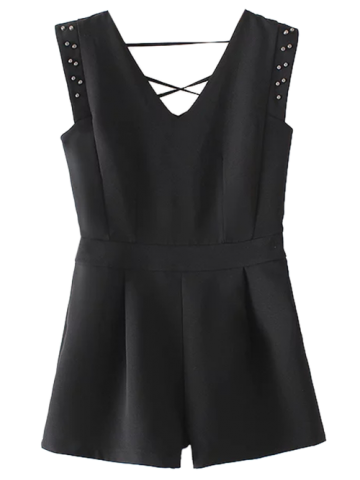 Sleeveless Studded Romper - BLACK S