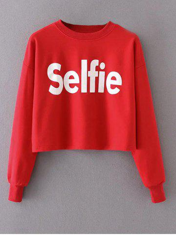 Chic Cropped Selfie Graphic Sweatshirt - M RED Mobile