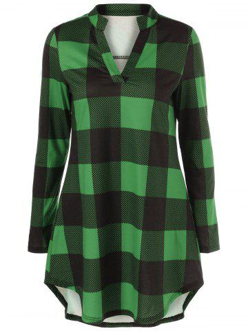 Fashion Split-Neck Long Plaid Boyfriend T-Shirt GREEN 5XL