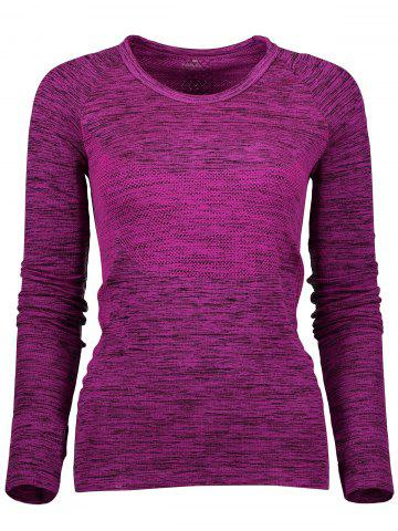 Fancy Space Dye Long Sleeve Running Top - L PURPLISH RED Mobile
