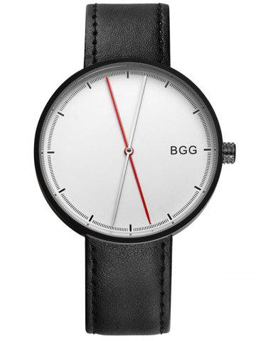 Cheap Faux Leather Long Analog Big Dial Watch WHITE AND BLACK