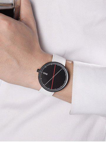 Outfits Faux Leather Long Analog Big Dial Watch - BLACK WHITE  Mobile