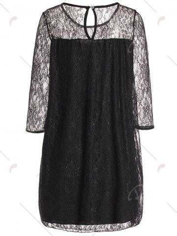 Store Stylish Round Collar 3/4 Sleeve Lace Spliced See-Through Women's Dress - 2XL BLACK Mobile