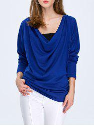 Cowl Neck Drop Shoulder Batwing Sleeve T-Shirt