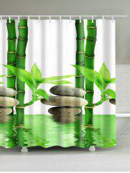 3D Bamboo Waterproof Mouldproof Shower Curtain - WHITE