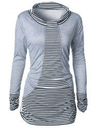 Stripe Ruched Long Sleeve T-Shirt