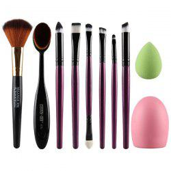 Stylish 6 Pcs Eye Makeup Brushes Set + Blush Brush + Foundation Brush + Brush Egg + Makeup Sponge - PURPLE