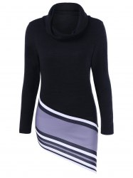 Striped Asymmetric Cowl Neck T-Shirt