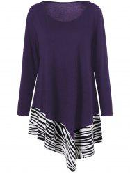 Plus Size Zebra Trim Asymmetrical Long T-Shirt