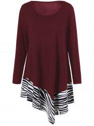 Plus Size Zebra Trim Asymmetrical T-Shirt