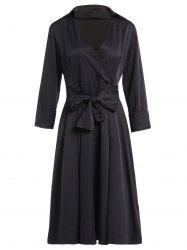Vintage Turn-Down Collar Solid Color Waist Lace-Up Dress For Women