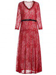 Lace Maxi Prom Party Dress with Sleeves - RED