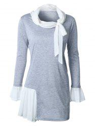 Bell Sleeves Chiffon Panel Tunic T-Shirt
