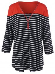 Plus Size Half Zip Striped T-Shirt