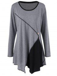 Plus Size Two Tone Asymmetric Tunic T-Shirt - BLACK AND GREY