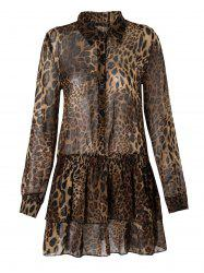 Shirt Collar Long Sleeve Leopard Print Multi-Layered Dress - LEOPARD