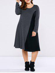 Plus Size Long Sleeve Two Tone Casual Dress -