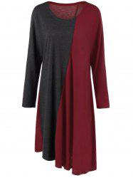 Plus Size Long Sleeve Asymmetrical Two Tone Casual Dress - RED WITH BLACK 3XL