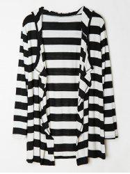 Stylish Hooded Striped Long Sleeves Loose-Fitting Cardigan For Women