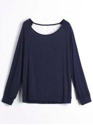 Sweet Hollow Out Lace Spliced Long Sleeve Pullover Sweatshirt For Women - PURPLISH BLUE