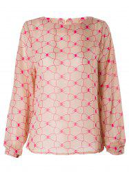 Sweet Jewel Neck Long Sleeve Bowknot Pattern Women's Blouse