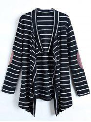 Casual Collarless Striped Long Sleeve Cardigan For Women