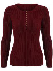Ribbed Button Sweater