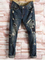 Patched Ripped Straight Leg Jeans
