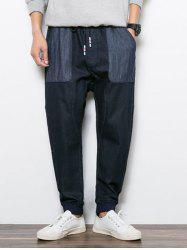 Colorblock Drawstring Denim Harem Pants