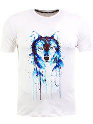 Splatter Paint Wolf Print Short Sleeve T-Shirt
