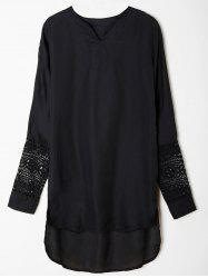 Casual V-Neck Long Sleeve Lace Spliced Asymmetrical Women's Dress - BLACK