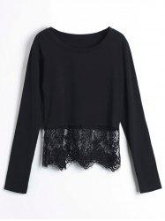 Stylish Round Collar Long Sleeve Lace Spliced Pure Color Women's Crop Top