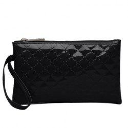 Patent Leather Rhombic Wristlet - BLACK