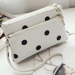 Polka Dot Multi Zips Cross Body Bag - WHITE