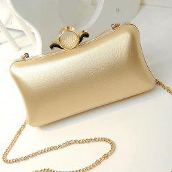 PU Leather Metal Trimmed Evening Bag - GOLDEN