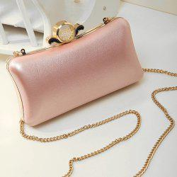 PU Leather Metal Trimmed Evening Bag - PINK