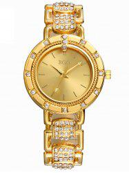 Quartz Movement Metal Watch with Rhinestone