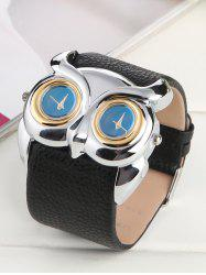 Waterproof Design Owl Irregular Double Dial Watch