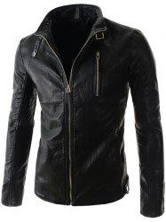 Stand Collar PU-Leather Belt Embellished Zipper Long Sleeve Jacket For Men - BLACK