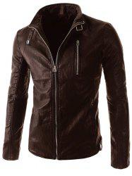 Stand Collar PU-Leather Belt Embellished Zipper Long Sleeve Jacket For Men -