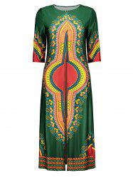 Tribal Print Slit Long T-Shirt