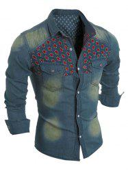 Distressed Flower Long Sleeve Pocket Denim Shirt