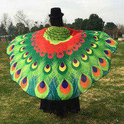 Chiffon Peacock Feather Pashmina Scarf Cape