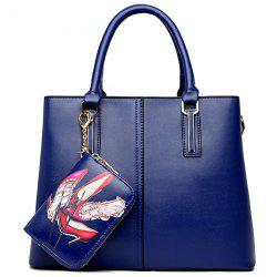 Stitching Handbag with Small Wallet - BLUE