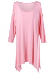 Plus Size Open Shoulder Tunic T-Shirt