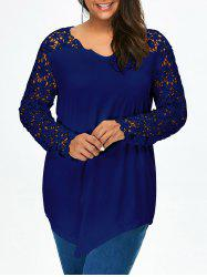 Lace Panel Plus Size Long Sleeve Tunic T Shirt