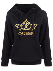 Crown Print Kangaroo Pocket Hoodie - BLACK XL