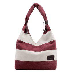 Casual Canvas Striped Shoulder Bag - DARK RED