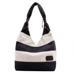 Casual Canvas Striped Shoulder Bag - BLACK