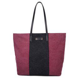 Casual Canvas Color Blocking  Shoulder Bag